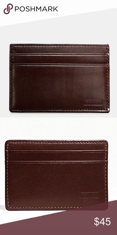 NEW Coach Water Buffalo Leather Slim Card Case New with tags from Coach. Smooth mahogany leather card case is the perfect solution when you want to travel light. There are 4 exterior card slots and a center pocket for a couple of additional cards or for folded bills, receipts, etc. Features & details 100% Leather Smooth leather card case from the Coach Water Buffalo Collection Coach logo embossed on lower front right-hand corner Coach Accessories Key & Card Holders