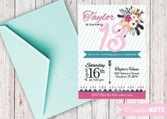 tribal arrows / feathers / flowers / printable birthday invitation design / girls teens / girl teenager party - hot pink - teal blue - light pink - arrow - pow wow party - digital file - personalized - print - etsy.com