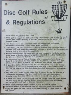 Disc Golf Rules and Regulations at Cliff Stevens Park Disc Golf Course.