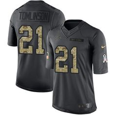 #NikeChargers #21 #LaDainian #Tomlinson Black Men's Stitched NFL Limited 2016 Salute to Service Jersey