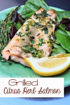 Grilled Citrus Herb Salmon - No time to marinade? No problem! Salmon fillets get topped with fresh cilantro, thyme, lemon and lime zest, garlic, and olive oil and then grilled. An easy and stunning summer dinner!