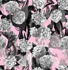 Hortensia pink, by Guldunen - Elina Antila. Available as high quality GOTS jersey (GOTS cotton / spandex).