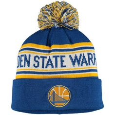 adidas Golden State Warriors Youth Royal Current Logo Cuffed Knit Hat With Pom