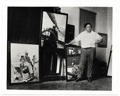 N. C. Wyeth    Description: Wyeth in his studio, ca. 1930, photographer unknown.    Wyeth, N. C. (Newell Convers), 1882-1945    Creator/Photographer: Unidentified photographer