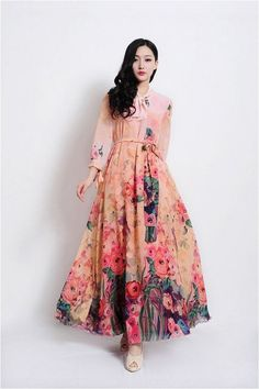 142 ideas for gorgeous long sleeve maxi dresses casual Modest Dresses, Pretty Dresses, Beautiful Dresses, Casual Dresses, Maxi Dresses, Floral Dresses, Floral Maxi, Floral Gown, Muslim Fashion