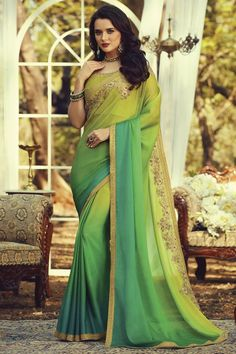 Online Shopping of Party Style Fancy Art Silk Fabric Sea Green Color Saree With Embroidered Blouse from SareesBazaar, leading online ethnic clothing store offering latest collection of sarees, salwar suits, lehengas & kurtis Lace Silk, Silk Fabric, Fabric Art, Fabric Material, Chiffon Saree, Silk Sarees, Saree Blouse, Sari, Party Wear Sarees Online