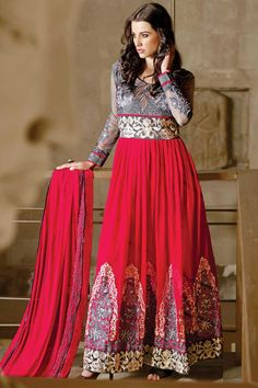Grey and red Georgette Anarkali churidar Suit With Dupatta Grey and red georgette, semi stictch anarkali churidar suit.Belt and neck embroidered with embroidered and zari work.Round neck, Ankle length, full sleeves kameez.Grey santoon churidar.Red chiffon dupatta with lace border with work. http://www.andaazfashion.co.uk/grey-and-red-georgette-anarkali-churidar-suit-with-dupatta-dmv13676.html