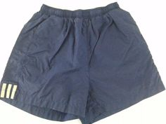 ADIDAS Men's Shorts M Blue Solid Pleated 100 % Nylon Three beige stripes sides  #adidas #BoardSurf #ebay #adidas #BoardSurf