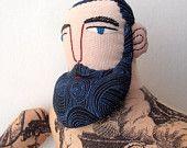 big tattoo man with beard  bearded art dolls from Mimi Kirchner.
