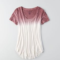 AE Soft & Sexy Short Sleeve T-Shirt ($25) ❤ liked on Polyvore featuring tops, t-shirts, brown, scoop neck t shirt, brown t shirt, sexy tops, white t shirt and curved hem tee