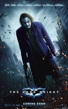 The Dark Knight (2008).  When Batman, Commissioner Gordon and Prosecutor Harvey Dent launch an assault on the mob, they let the clown out of the box, the Joker, bent on turning Gotham on itself and bringing any heroes down to his level. Starring Christian Bale, Heath Ledger, Aaron Eckhart and Gary Oldman.