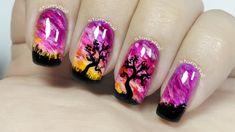 Purple Sunset & Trees [Freehand Nail Art]