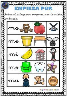 Conciencia fonológica empieza por…… MA-ME MI MO-MU Y PA-PE-PI-PO-PU - Imagenes Educativas Bilingual Education, Kids Education, Homeschool, Teacher, Activities, Writing, Spanish, Crafts, Phonetic Alphabet
