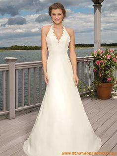 Prinzessinstil elegantes Brautkleid aus Chiffon Bodenlang V-Ausschnitt