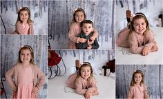 little boy, little girl, pink, gray, sweater, presents, sled, holiday, christmas, winter, headband, siblings, children