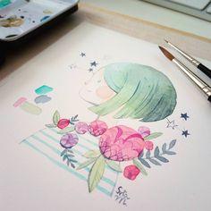 Visual Development, Illustration Girl, Color Inspiration, Watercolor Art, Digital Art, Paper, Drawings, Instagram Posts, Painting