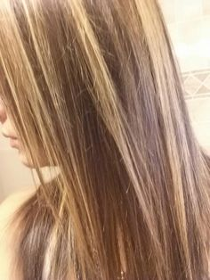 brown hair with subtle blonde highlights
