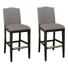 AHB Chase Counter Stool - Black with Smoke Linen Upholstery - Set of 2 Image