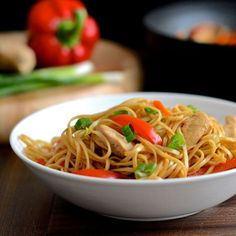 Quick and easy chicken chow mein recipe. With detailed nutritional information. Under 400 calories per serving.