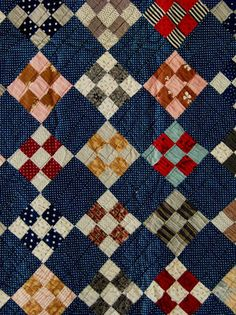 Antique Handmade Early 1900s NINE PATCH Quilt Polka Dots Old Browns Red CLEAN | eBay, i_spy_design