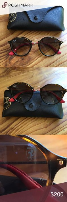 RayBan Scuderia Ferrari Collection Round 2447 NEVER BEEN WORN. NWOT. NO  SCRATCHES.   a768ddb979