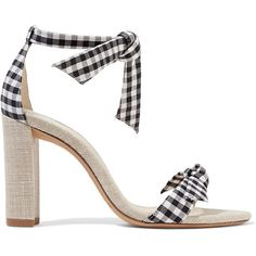 Alexandre Birman Clarita bow-embellished gingham cotton and canvas... (275 CAD) ❤ liked on Polyvore featuring shoes, sandals, heels, my shoes, alexandre birman sandals, tie sandals, bow tie shoes, cotton shoes and canvas shoes