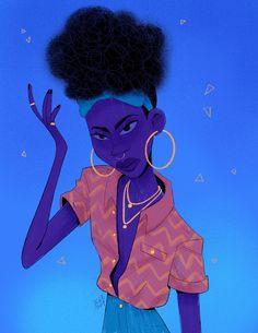 Character Design Animation, Character Creation, Character Design References, Character Concept, Character Art, Cartoon Art Styles, Afro Art, Prop Design, Blue Art