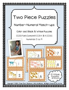 This is a set of 10 two piece puzzles. The puzzles come to you in both black and white and color versions within the same file. These are designed for preschool and kindergarten students. Children count the number of farm animals on the left side of the puzzle and match it to the appropriate numeral on the right side of the puzzle. Puzzles are self-checking and make a great center activity. $2.50