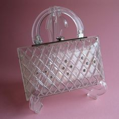 1950s carved lucite purse #vintage #clutch #purse #clear #lucite #rhinestone #wedding $95
