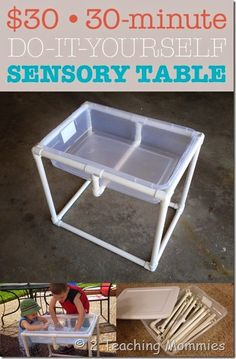 DIY Sensory Table- make several bins with different sensory activities and switch them out when child starts losing interest. Sensory Table, Sensory Bins, Sensory Activities, Sensory Play, Learning Activities, Preschool Activities, Kids Learning, Sensory Rooms, Preschool Class