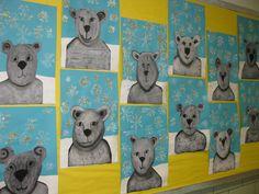 Chalk Pastel Polar Bears, black and white construction paper, white tempra, glitter, grade 2
