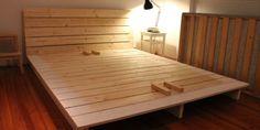 diy platform bed:pleasing easy diy king platform bed frame hey carline mclamb Platform Bed With Storage, King Platform Bed, Diy Platform Bed Plans, Diy Platform Bed Frame, Cool Diy Projects, Home Projects, Furniture Projects, Wood Furniture, Furniture Design