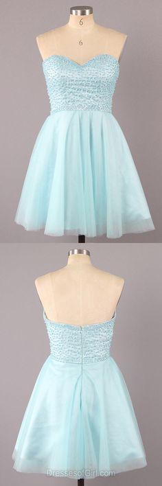 Sweetheart Prom Dress, Blue Prom Dresses, Short Homecoming Dress, Tulle Homecoming Dresses, Pearl Cocktail Dresses
