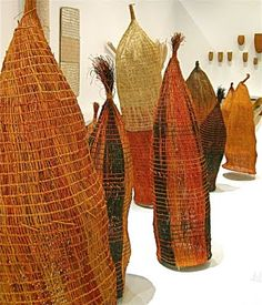 Wonderful contemporary Aboriginal fibre art at Gallery of Modern Art (GOMA), Brisbane. This room featured fishing technology and contained examples of nets, traps and even a canoe sail made of woven reeds.