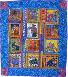 Fanciful Felines Laurel Burch Quilted Wall Hanging | SieberDesigns - Quilts on ArtFire