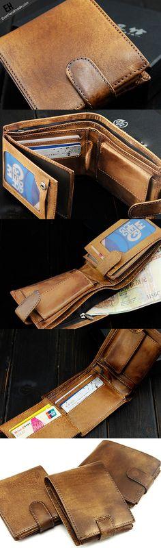 Handmade men short leather wallet men vintage brown navy short wallet for him
