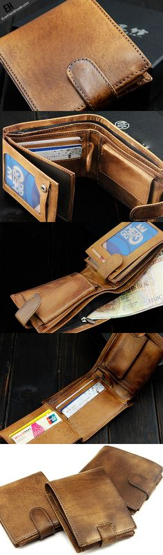 Handmade men short leather wallet men vintage brown navy short wallet for him