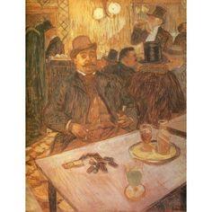 M Boileau at the Cafe 1893 Canvas Art - Henri de Toulouse-Lautrec (18 x 24)