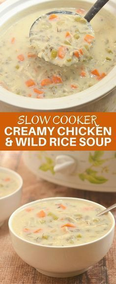 EASY CROCK POT CREAMY CHICKEN AND RICE SOUP