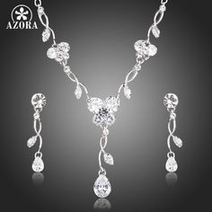 Luxury Clear Cubic Zirconia Tear Drop Earrings and Pendant Necklace Jewelry Sets TG0136