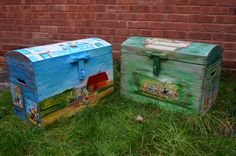 extra large hand painted chest trunks