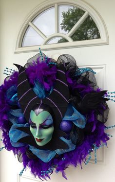 Maleficent Disney Halloween Wreath by SparkleForYourCastle Halloween Front Door Decorations, Halloween Front Doors, Spooky Decor, Disney Halloween Decorations, Skeleton Decorations, Christmas Decorations, Holiday Wreaths, Holiday Fun, Holiday Crafts