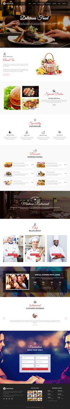 Madison is Premium full Responsive Retina Parallax #Joomla #Restaurant Template. #Bootstrap 3. Google Map. Revolution Slider. Test free demo at: http://www.responsivemiracle.com/madison-premium-responsive-restaurant-joomla-template/