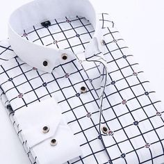 Men's Shirts Big Size Men Dress Shirt New Arrival Long Sleeve Slim Fit Button Down Collar High Quality Printed Business Shirts Mens Business Dress, Business Shirts, Business Dresses, Business Casual, Social Business, Formal Shirts For Men, Casual Shirts, Denim Shirts, Chemise Slim Fit
