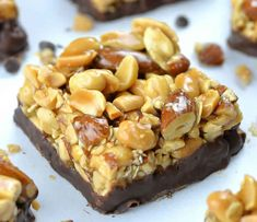 These Gluten Free Protein Bars with peanuts & almonds are a healthy snack made with wholesome ingredients! But the best of all: they're SOOOO DELICIOUS! Gluten Free Protein Bars, Protein Bar Recipes, Protein Powder Recipes, Protein Snacks, Raw Food Recipes, Sweet Recipes, Healthy Snacks, Snack Recipes, Dessert Recipes