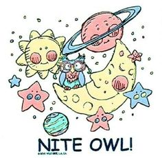 Nite Owl Cute Kid's HEAT PRESS TRANSFER for T Shirt Tote Sweatshirt Fabric #414 #AB