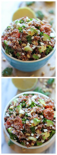 Greek Quinoa and Avocado Salad - A quick and easy Greek-inspired quinoa salad, perfect for Meatless Monday or any other day of the week!