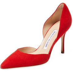 Manolo Blahnik Women's Tayler 90 Suede D'Orsay Pump - Red, Size 36 ($539) ❤ liked on Polyvore featuring shoes, pumps, heels, red, red suede shoes, suede platform pumps, d orsay pumps, red pumps and d'orsay pumps