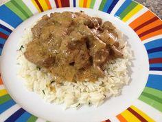#Estrogonoff de #carne con #arroz  #receta #strogonoff