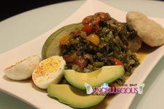 Purple Callaloo (amaranth) with Avocado, Dumplings, and Boiled Eggs